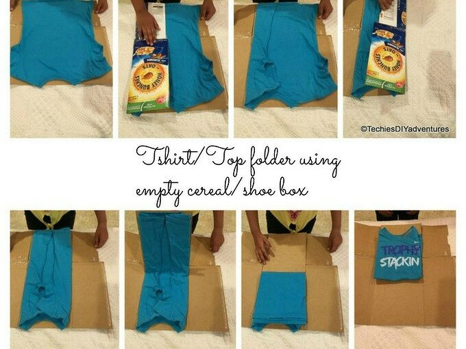 tshirt tops folder using cereal box, crafts, organizing