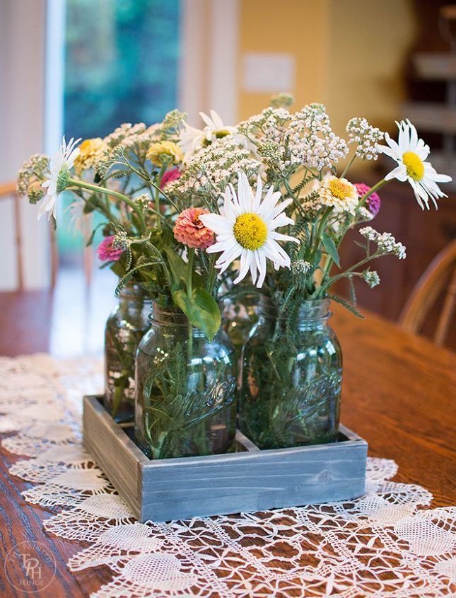 diy mason jar centerpiece tray, home decor, mason jars, woodworking projects