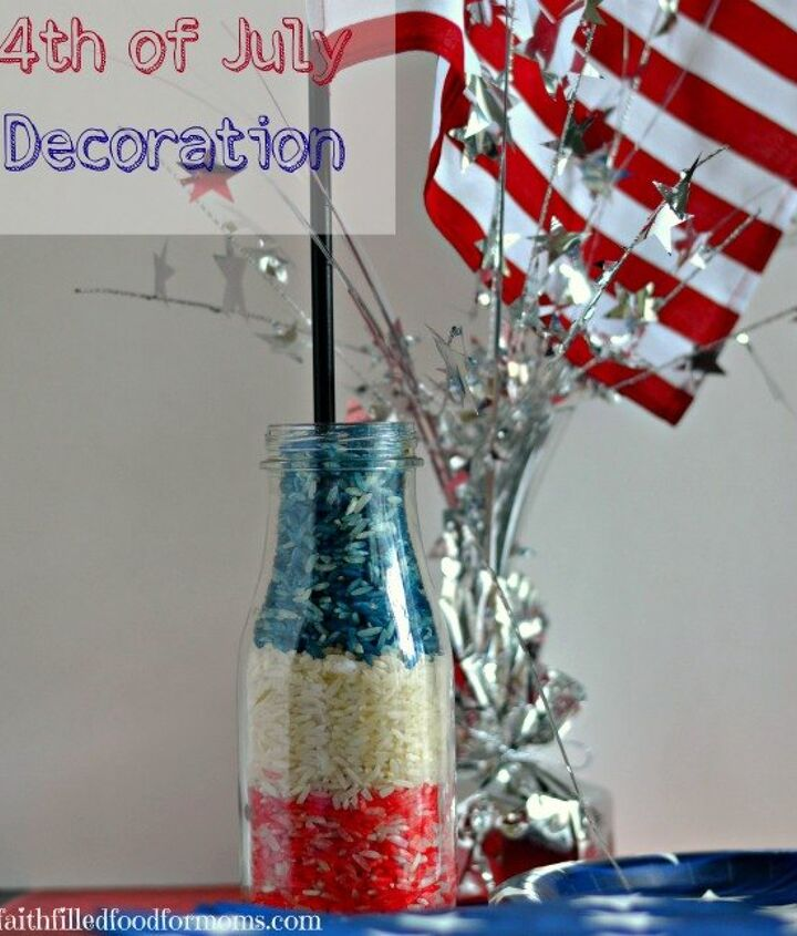 easy 4th of july table top decoration , crafts, patriotic decor ideas, seasonal holiday decor