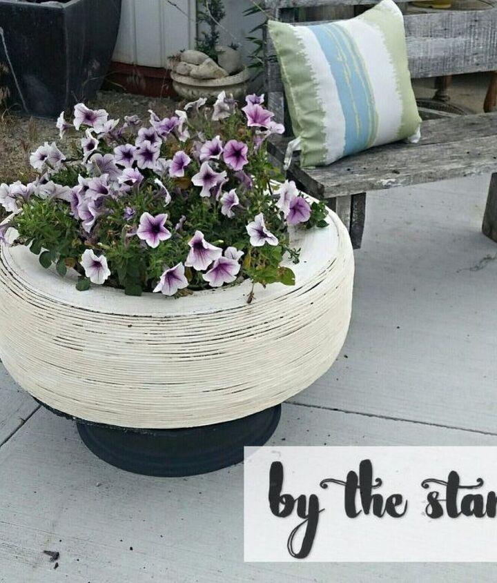 diy tire planter, container gardening, diy, flowers, gardening, repurposing upcycling