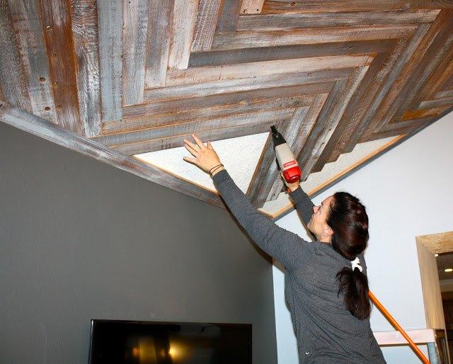Reclaimed Wood Herringbone Pattern On The Ceiling Hometalk