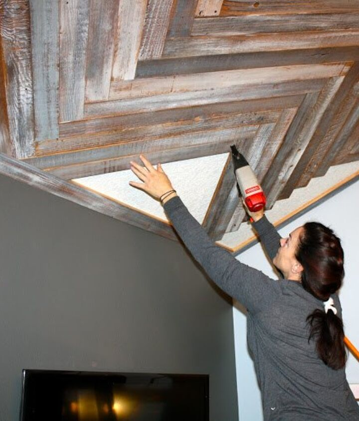 reclaimed wood herringbone pattern on the ceiling, diy, how to, woodworking projects