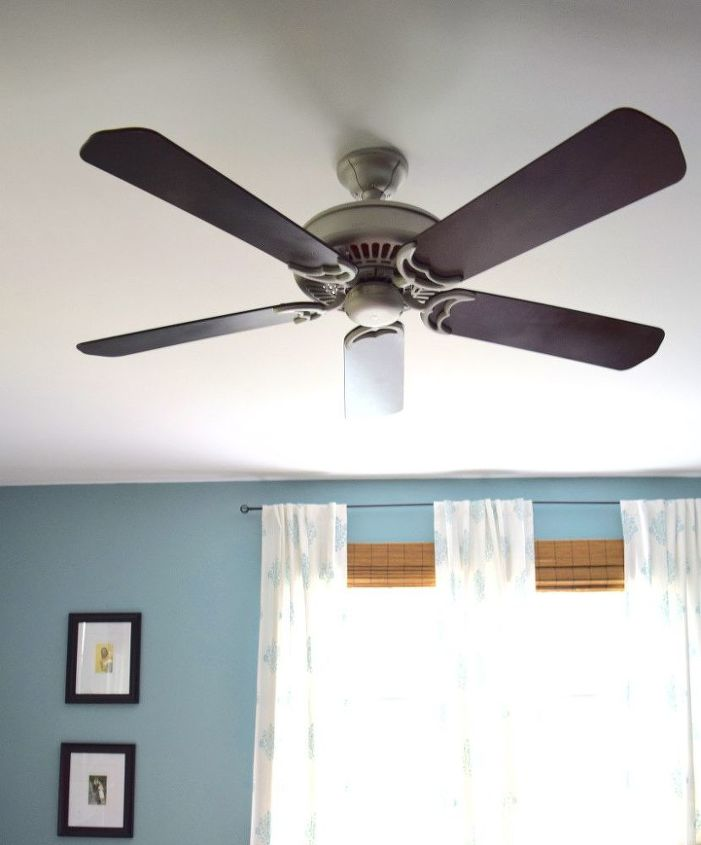 s 13 ways to upgrade your boring ceiling fan on a budget, appliances, wall decor, Paint the blades dark to contrast the ceiling
