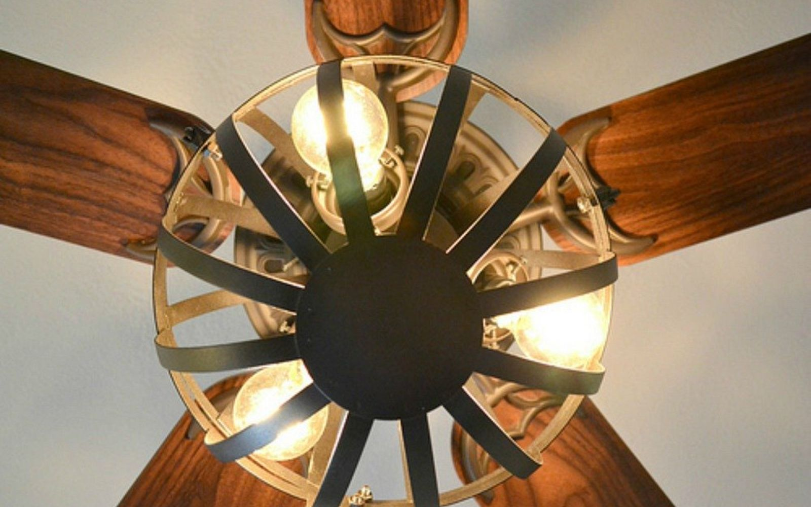 s 13 ways to upgrade your boring ceiling fan on a budget, appliances, wall decor, Use a hanging planter as an industrial shade