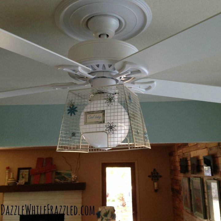 s 13 ways to upgrade your boring ceiling fan on a budget, appliances, wall decor, Slide a wire basket over the light fixture