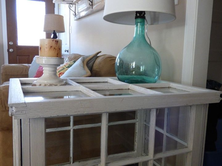 side table made from old windows, painted furniture