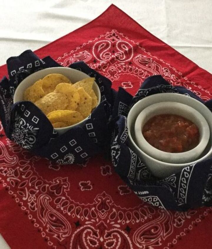 bandana bowls, crafts, repurposing upcycling