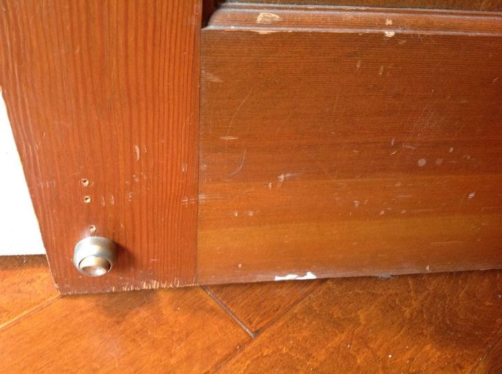 q easy way to spiff up good wood doors , doors, home maintenance repairs, minor home repair, Bottom of door