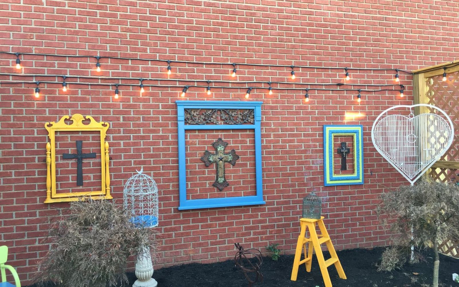 s wait they did what in their backyard , outdoor furniture, outdoor living, Add a colorful prayer garden from found items