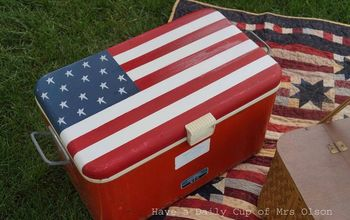 painting an old cooler like an american flag, crafts, painting, patriotic decor ideas, seasonal holiday decor