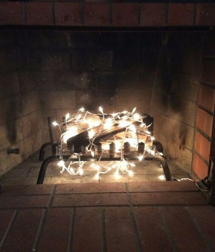 s 16 unexpected ways to use christmas lights this summer, christmas decorations, home decor, lighting, repurposing upcycling, Fake a cozy fireplace