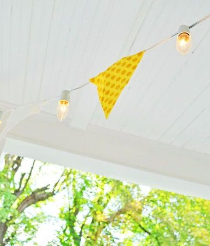 s 16 unexpected ways to use christmas lights this summer, christmas decorations, home decor, lighting, repurposing upcycling, Make a festive banner for your porch
