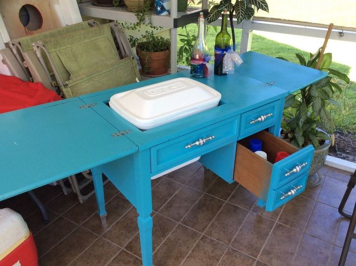 Sewing table cooler copy diy hometalk for Build patio table with cooler