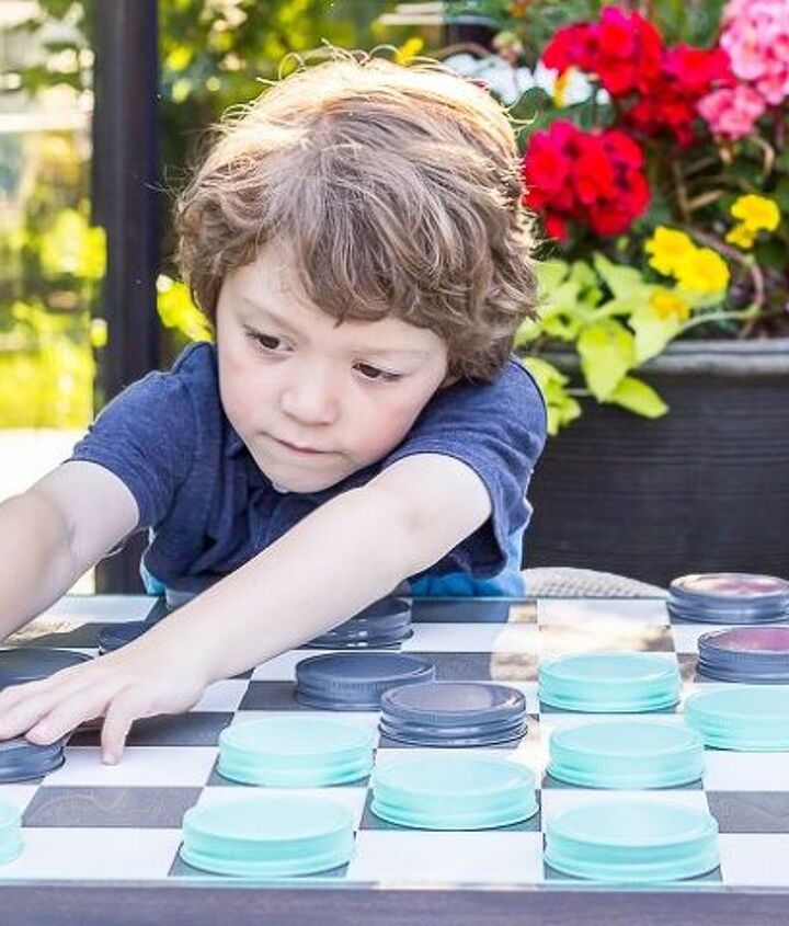 diy oversized checkerboard game, crafts, mason jars, outdoor living, painted furniture, repurposing upcycling
