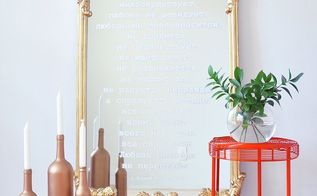 diy mirror makeover stencil your favorite quote on a mirror, crafts, how to, painted furniture