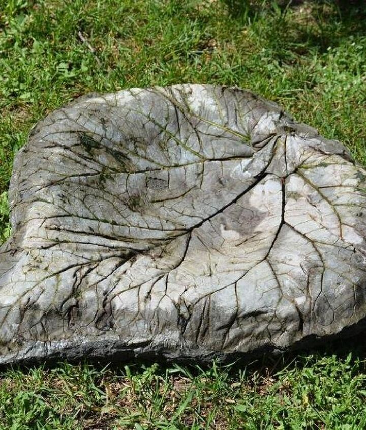 cement rhubarb leaf tutorial, concrete masonry, crafts, how to, landscape