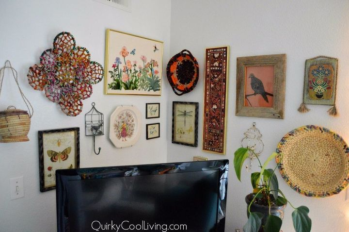 a thrifted bohemian gallery wall budget decorating, home decor, wall decor
