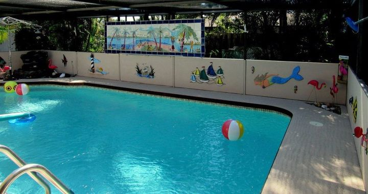 s wow 11 dreamy ideas for people who have backyard pools, outdoor living, pool designs, Decorate surrounding walls with wood cut outs