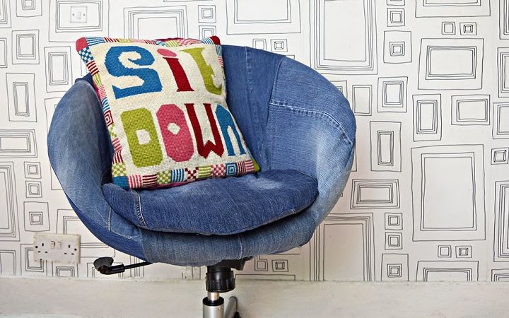 easy free chair upholster using your old jeans , home office, how to, repurposing upcycling, reupholstoring, reupholster