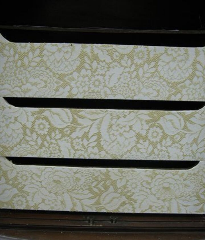 Using lace on drawer fronts.