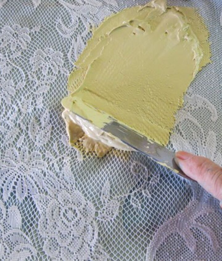 Spreading  Textura Paste over lace