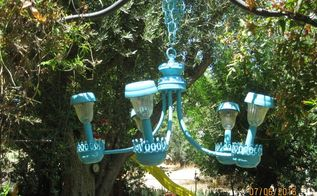 solar chandelier, go green, lighting, painted furniture, repurposing upcycling