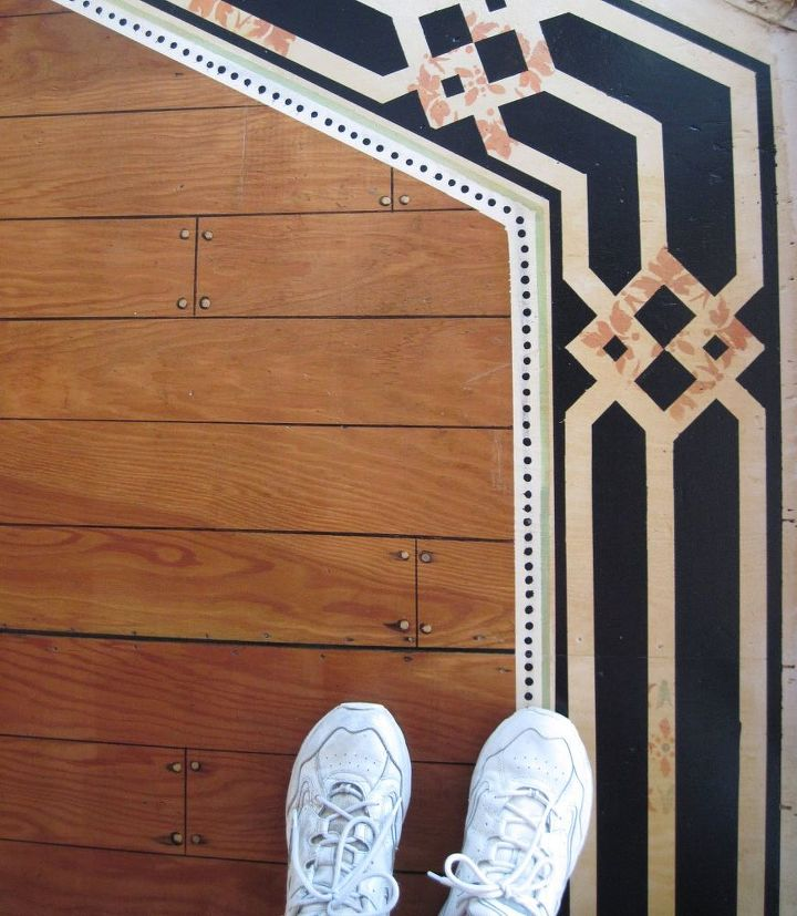 s here s how to totally transform your old floors on the cheap, flooring, how to, Paint an elegant border around one room