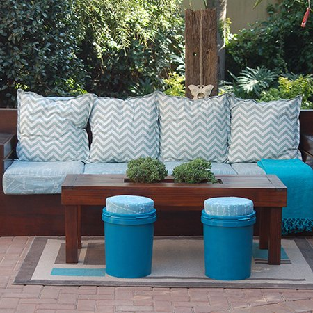 recycled paint can stools, crafts, outdoor furniture, repurposing upcycling, storage ideas