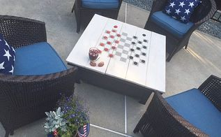 fire pit cover and game table, crafts, how to, outdoor furniture, outdoor living, painted furniture