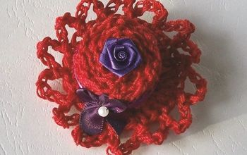 Red Hat Crocheted Pin or Magnet