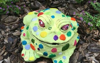 update old lawn ornaments with paint, crafts, outdoor living, painting, Whimsical new look of our plaster toad