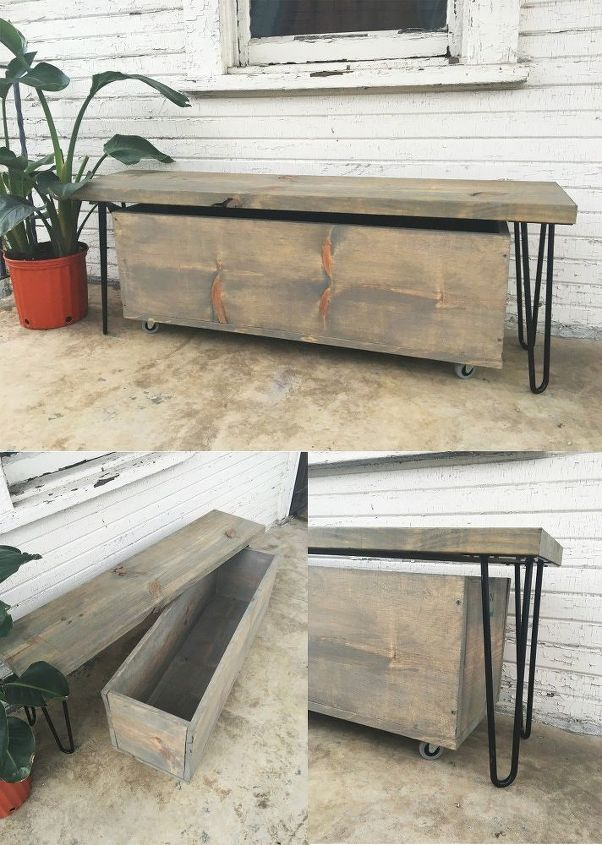Outdoor Hairpin Leg Bench And Storage How To Furniture Rustic