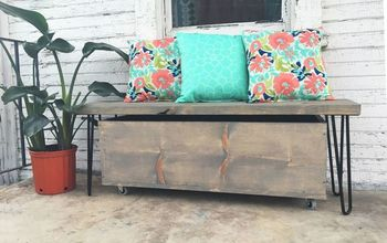 outdoor hairpin leg bench and storage, how to, outdoor furniture, rustic furniture, storage ideas, woodworking projects