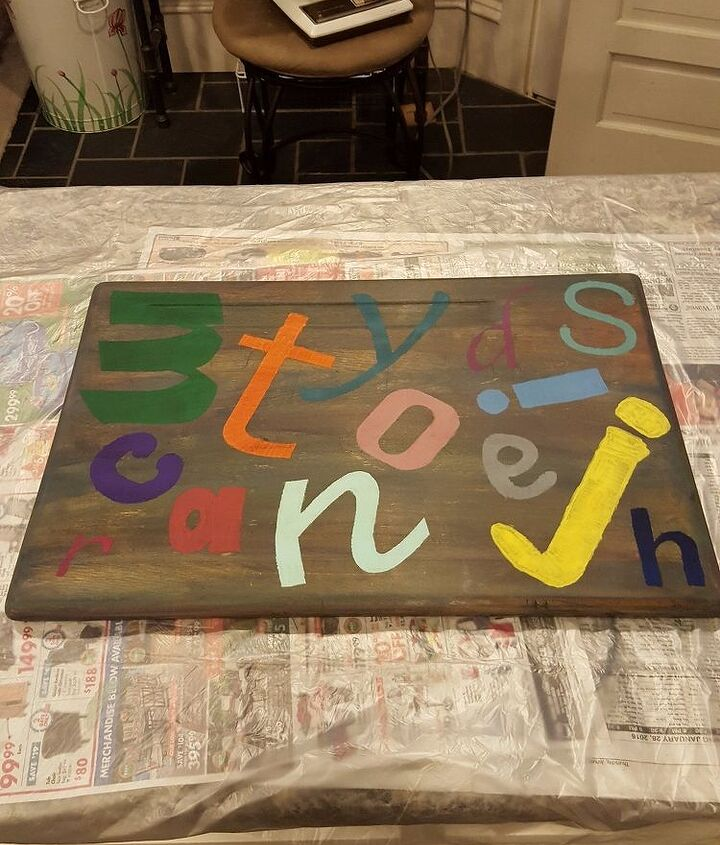 Stenciling letters on top