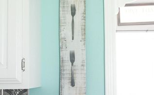 diy kitchen wall art using random forks , crafts, how to, kitchen design, painting, pallet, repurposing upcycling