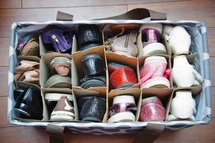 s 13 insanely clever ways to store your shoes, organizing, Organize them into a large tote bag