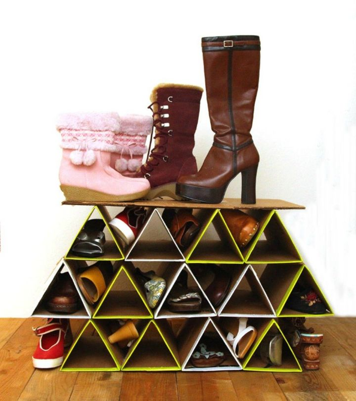 s 13 insanely clever ways to store your shoes, organizing, Fold cardboard boxes into standing organizers