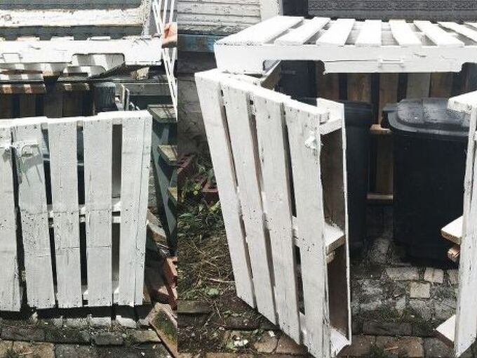 outdoor garbage can storage, animals, how to, outdoor living, painted furniture, pallet, pest control, pets animals, repurposing upcycling, storage ideas