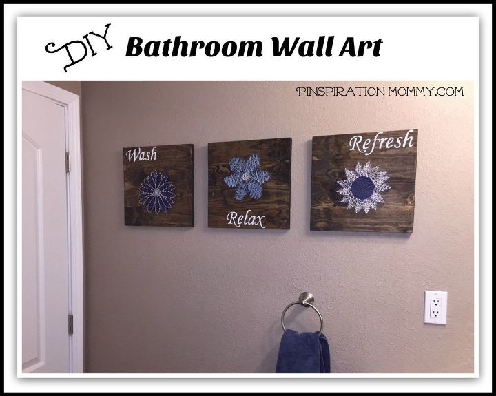 Diy bathroom wall art string art to add a pop of color for Bathroom designs diy