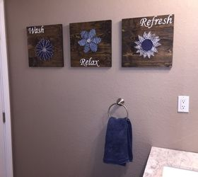 Diy Bathroom Wall Art String Art To Add A Pop Of Color , Bathroom Ideas,