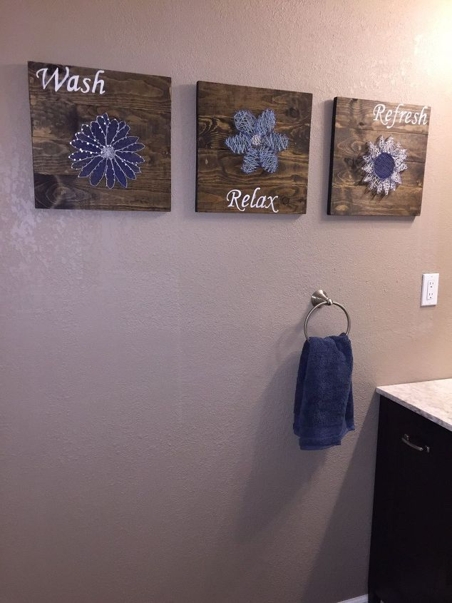 Diy bathroom wall art string art to add a pop of color for Cheap wall art ideas
