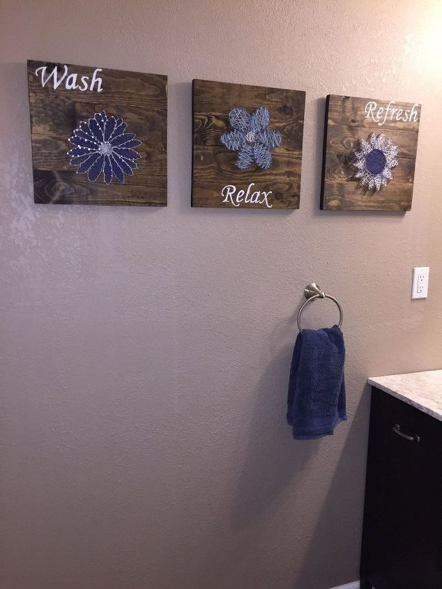 diy bathroom wall art string art to add a pop of color , bathroom ideas, crafts, how to, wall decor, woodworking projects