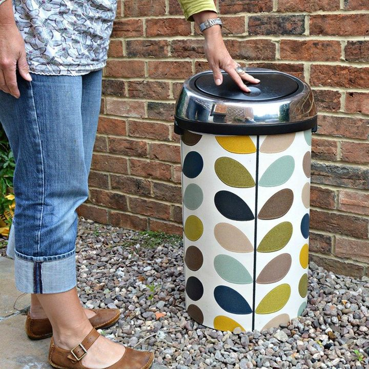 s 10 top trash can hacks of all time which one will you try , repurposing upcycling, storage ideas, Dress up your trash in a snap with wallpaper