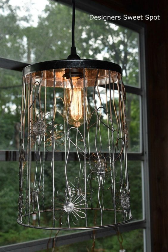 s 10 top trash can hacks of all time which one will you try , repurposing upcycling, storage ideas, Turn a wire bin into a stylish pendant lamp
