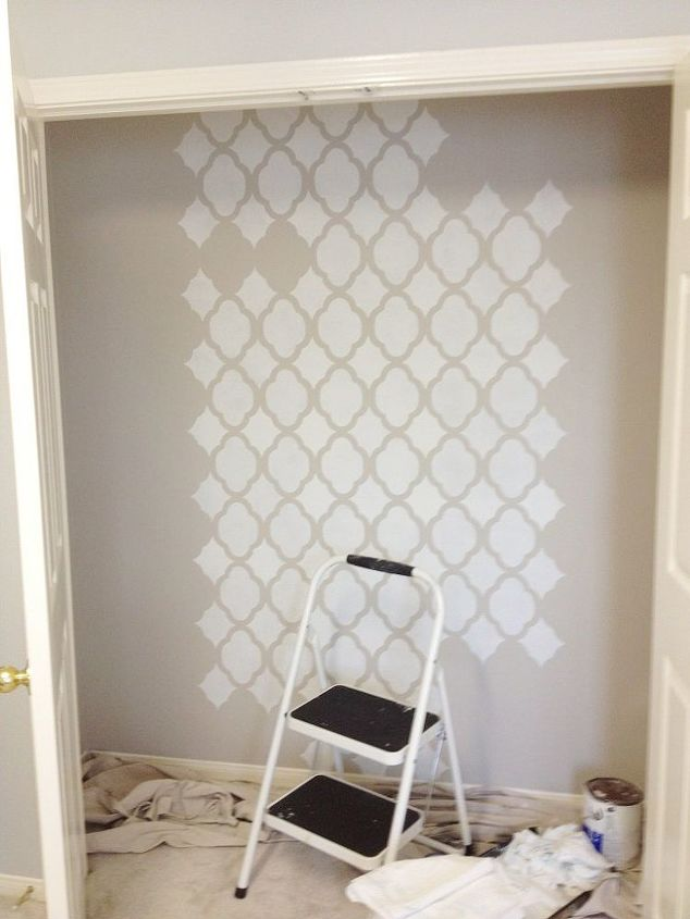 stencils can perk up a small office space, crafts, painting, wall decor