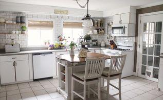 kitchen updates that anyone can do, kitchen design, kitchen island, lighting, shelving ideas, tiling, window treatments