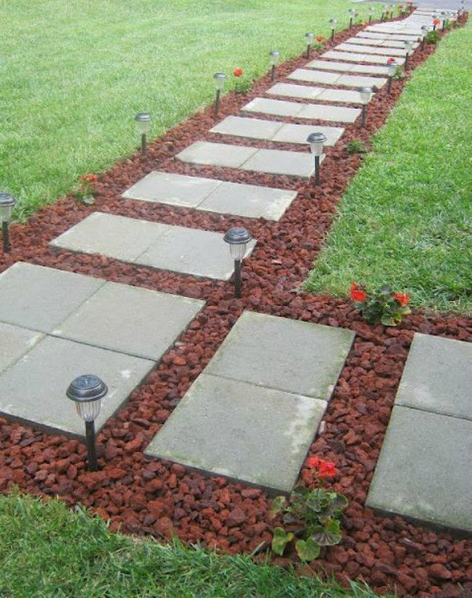 s 15 ways concrete pavers can totally transform your backyard, concrete masonry, curb appeal, outdoor living, Lay an elegant floating walkway