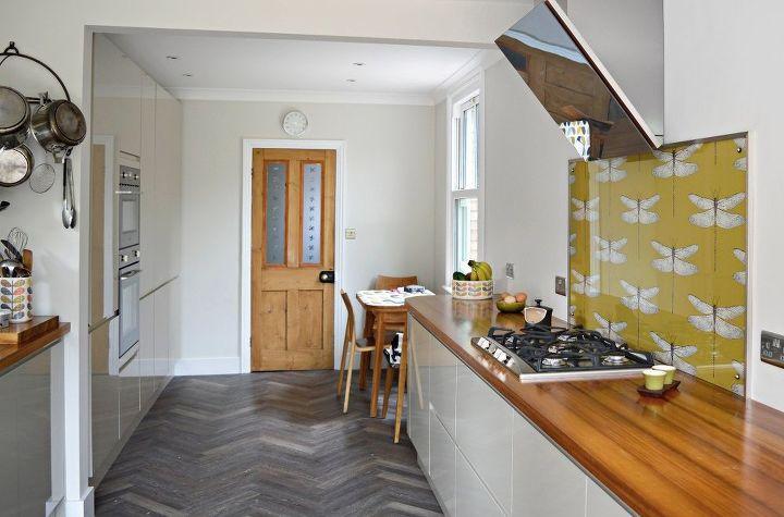 diy splashback with wallpaper, kitchen backsplash, kitchen design, wall decor