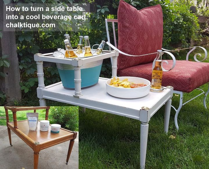 backyard drink cart, chalk paint, painted furniture, painting, painting wood furniture, shelving ideas