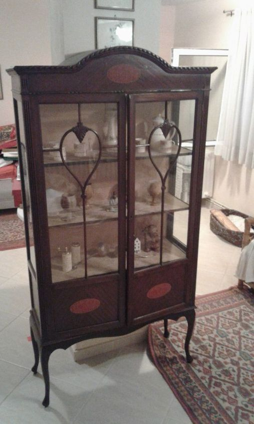Old English antique display cabonet over 90 years old circa Victorian  times. Its also up - Color Change To An Antique Display Cabinet Hometalk